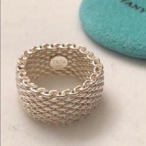 Tiffany & Co. Somerset Mesh Ring Size 6 1/2